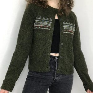 J.Crew Lambswool Green Embroidered Cardigan Size S